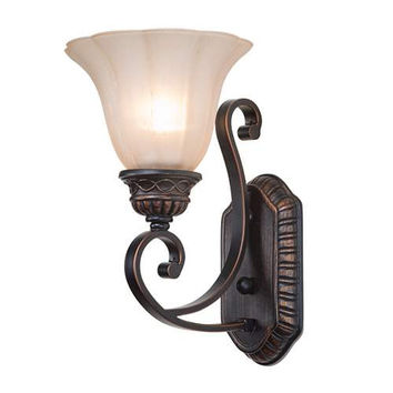 LNC Traditional Wall Sconce, White Bell Glass Bronze Finish