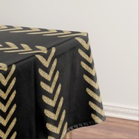 Black Gold Chevron Arrows Table Cloth