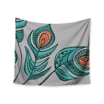"Brienne Jepkema ""Feathers Gray"" Grey Teal Wall Tapestry"