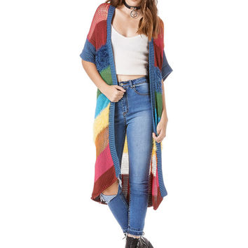 Be someones gold at the end of the rainbow in the Celeste cardigan. 3/4 length rainbow knit cardigan with midlength sleeves, and furry patches throughout. Oversized fit.