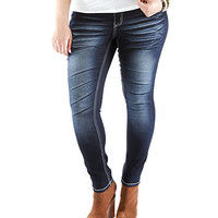Plus-Size Whiskered Skinny Stretch Jeans - Rainbow