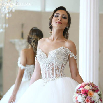 Bridal Dress Wedding Dress Elegant Lace Appliques Straps Bodice Corset Ball Gowns Pearl Beaded Bride  2017