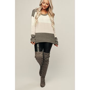 Sideways Color Block Sweater (Grey/White)