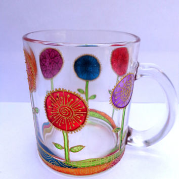 Flowers Mug. Hand painted glass mug