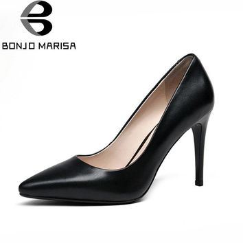 BONJOMARISA 2018 Women's Patent Leather High Heel Party Wedding Office Shoes Woman Pointed Toe Less Pumps Size 34-39