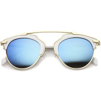 Modern Fashion 2 Tone Mirrored Lens Aviator Sunglasses A209