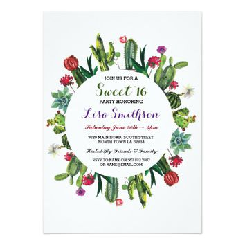 Sweet 16 Birthday Party Fiesta Cactus Invitation