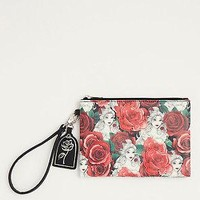Licensed cool Disney Beauty & the Beast Roses pattern Clutch Wristlet Purse Cosmetic Bag  NWT