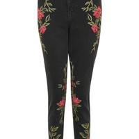 MOTO Rose Embroidered Mom Jeans | Topshop