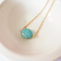 Delicate Turquoise Oval Necklace. A Gold Chain Necklace with a Little Oval Turquoise. Perfect gift for her.
