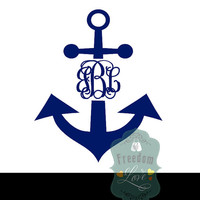 Anchor Monogram Car Decal - Personalized