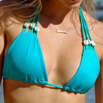 WAIKALUA: Shell Halter Bikini Top Create Your Own