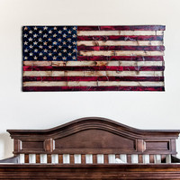 Wood American Flag Nursery decoration wood burned painted with chiseled stars