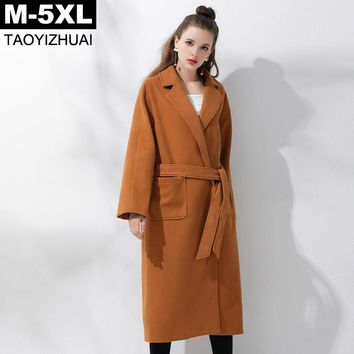 2017 Autumn Winter Wool Coat Camel Color Women's Casual Loose Long Coats M - 5XL Plus Size Thick Warm Outerwear With Pockets
