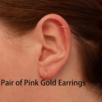 Pink Rose Gold Hoop Earring PAIR Cartilage Tragus Helix Eyebrow Nose Ring Small Tiny Catchless Seamless Little Sleeper Hypoallergenic.