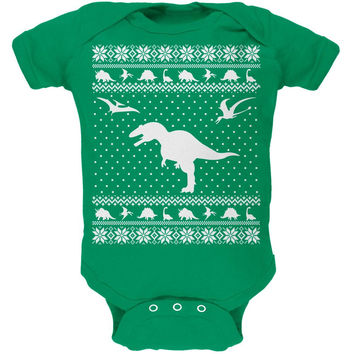 Dinosaurs Ugly XMAS Sweater Kelly Green Soft Baby One Piece