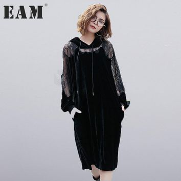 [EAM]2017 new autumn winter hooded long sleeve solid color black lace split joint loose big size velour dress women fashion JC93