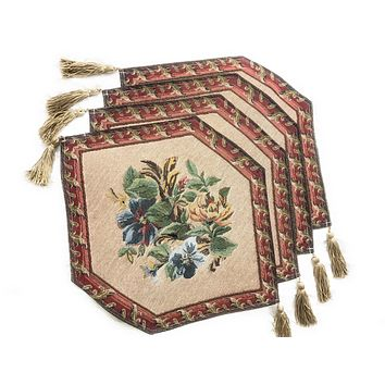 Tache 4 Piece Festive Red Yuletide Blooms Woven Table Runner, 13x17 (DB5598-4PC13X43TR)