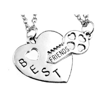 Sliver Double Chain Best Friend Broken Heart Key Pendant Necklace