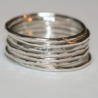 7 Silver Stacking Rings, Thin Silver Stacking Rings, Stackable Set of Rings, Hammered Bands, Size 5 Stacked Rings by Maggie McMane Designs