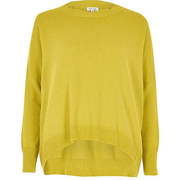 Lime green high-low jumper
