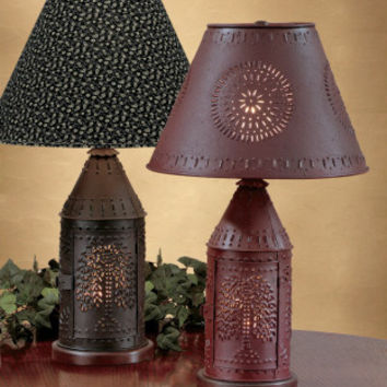 Willow Punched Revere Lamp - Red