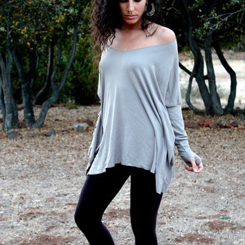 Oversized Top - Long Sleeves Thumbholes - Bohemian Top - Off The Shoulder Gypsy Tunic