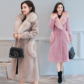 BIBOYAMALL Winter Fur Hooded Coats Women Long Sleeve Fur Coat Feminino Wool Casaco Ladies Cardigan Cashmere Coat Plus Size 4XL