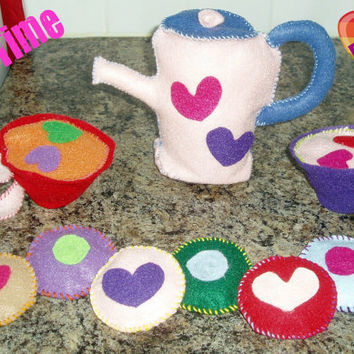 Tea Set Felt Child's Toy Tea Set by BrennysBibbies on Etsy