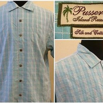 Mens Pusser's Island Reserve Silk and Cotton Shirt Blue White Check Size Medium