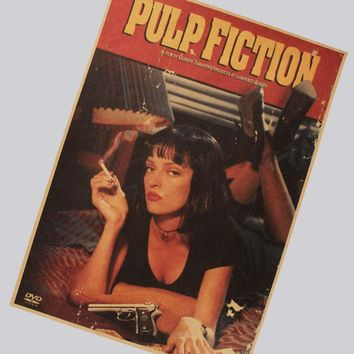 Quentin tarantino pulp fiction retro nostalgia classic old movie poster kraft paper 42*30CM