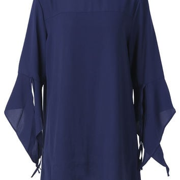 Women Round Neck Flare Sleeve Chiffon Mini Dress