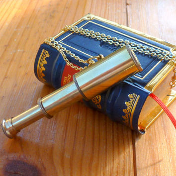 Steampunk Victorian brass Spyglass TELESCOPE NECKLACE pirate pendant nautical----Great Gift