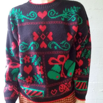 Vintage Ugly Christmas Sweater / Made in USA / Xmas Jumper / Novelty Pullover