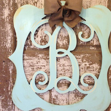Monogrammed Wooden Wreath / Initial Door Hanger / Custom Wall Decor