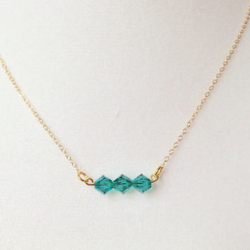 Blue green necklace, gem stone necklace, swarovski green necklace, swarovski blue green necklace, simple nugget necklace, dainty necklace
