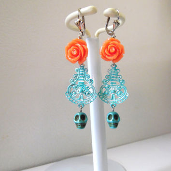 Day Of the Dead Earrings Sugar Skull Jewelry Chandelier Leverback Dangles Turquoise Blue