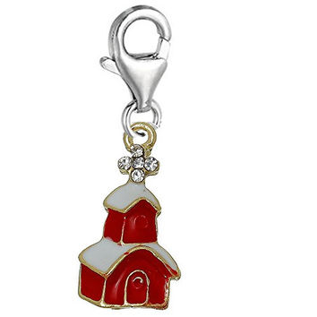 Christmas Village House Clip on Lobster Clasp Pendant Charm for Bracelet or Necklace