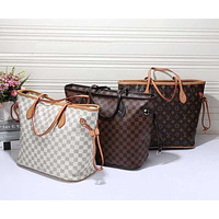 LV Women Shopping Leather Tote Handbag Shoulder Bag F