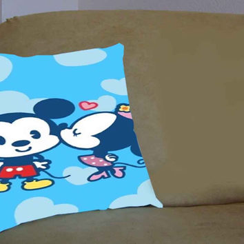 Cute micky mouse kiss - Pillow Case, Pillow Cover, Custom Pillow Case **