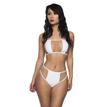 White bandeau mesh sheer see through sexy swimsuit high waist bikini set Swimwea