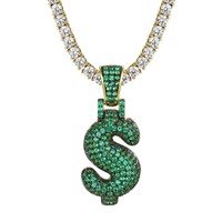 Custom Green Iced Out Dollar Sign Bubble Letter Chain