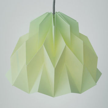 RUFFLE: Origami Paper Lamp Shade - Light Green / FiberStore by Fiber Lab