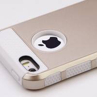 iPhone 5S Case, iPhone 5 Case, ULAK TPU + PC 2-Piece Style Soft Hard Case Cover for iPhone 5 / iPhone 5S (Gold+White)