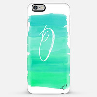 Green White Brush Strokes Custom Slim Phone Case with Initial
