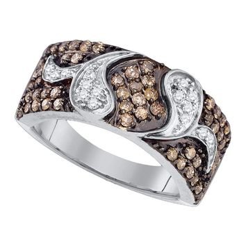 10k White Gold Womens Cognac-brown Color Enhanced Diamond Cocktail Band Ring 7/8 Cttw
