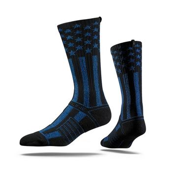 Strideline USA Flag Stars Stripes Black Blue Crew Socks