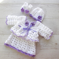 Crochet baby outfit, newborn crochet outfit, infant crochet clothes, purple baby girl dress, baby shower gift, baby girl coming home outfit