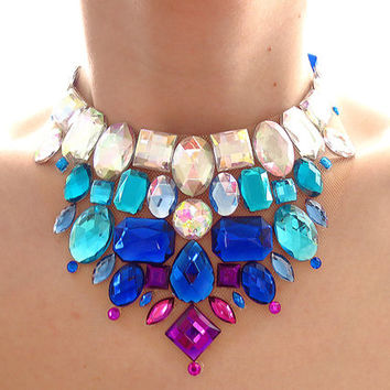 Crystal AB and Royal Blue Rhinestone Statement Bib Necklace, Blue and Purple Jeweled Bib Necklace, Blue Bridal Party Necklace