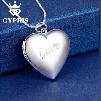 LOVE BIG HEART Locket Picture Frame Pendant Necklace silver Love Charm Necklace 1mm snake chain18inch chic love album jewelry